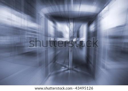 Revolving door in French bank. - stock photo