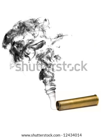 Revolving shell with a smoke. - stock photo