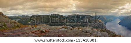 Revvatnet panorama of the lake. The trail to Preikestolen. Norway - stock photo