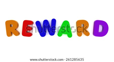 REWARD spelled out with Multicoloured Fridge Magnet Letters