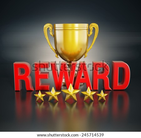 Reward text, gold cup and five stars - stock photo