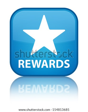 Rewards (star icon) glossy blue reflected square button - stock photo