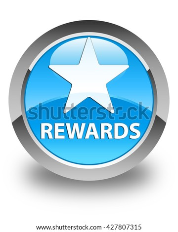 Rewards (star icon) glossy cyan blue round button - stock photo