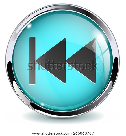 Rewind button. Glossy icon with metallic frame. Isolated on white background. Raster version - stock photo