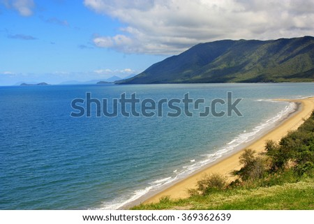 Rex lookout Port Douglas with a view of Double Island near Cairns Australia - stock photo