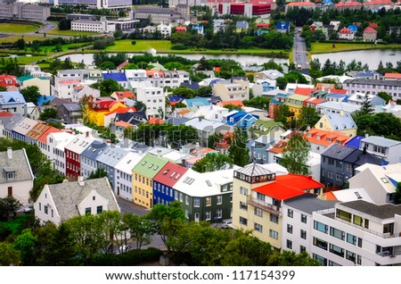 Reykjavik city aerial view of colorful houses, Iceland - stock photo