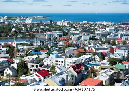Reykjavik city, view from the top of Hallgrimskirkja church, Iceland - stock photo