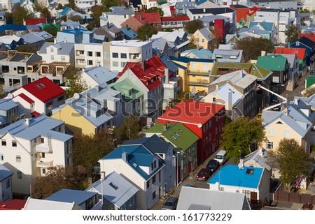 reykjavik from above - stock photo