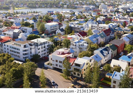 REYKJAVIK, ICELAND - AUGUST 18: Reykjavik, the capital city of Iceland on August 18, 2014