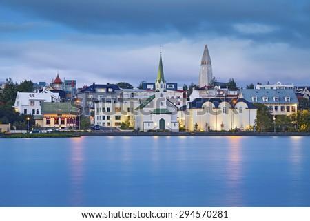 Reykjavik, Iceland. Image of Reykjavik, capital city of Iceland, during twilight blue hour. - stock photo