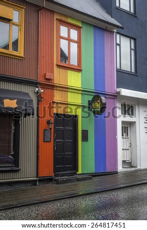 REYKJAVIK, ICELAND - June 30, 2014: A gay bar and nightclub in downtown Reykjavik.  Like many European capitals, Reykjavik and indeed, all of Iceland is quite gay friendly - stock photo