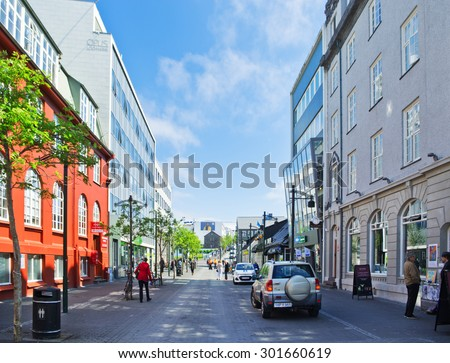 REYKJAVIK, ICELAND - JUNE 20: Downtown streets of Reykjavik, Iceland on June 20, 2015. Reykjavik is the northernmost capital in the world and the largest city of Iceland.  - stock photo