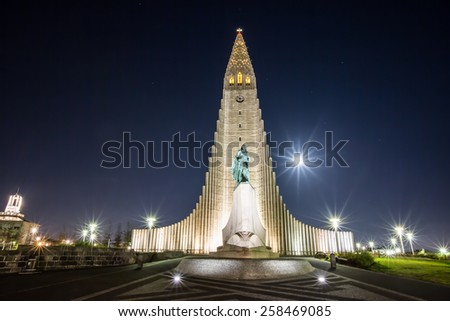 REYKJAVIK, ICELAND - OCTOBER 5: The Hallgrimskirche at night time on October  5, 2014 in Reykjavik. The modern style church in the city. - stock photo