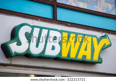 REYKJAVIK, ICELAND - SEP 13: Subway Restaurant Logo on Sep. 13, 2015 in Reykjavik, Iceland. It is one of the fastest growing franchises in the world, with 43,035 restaurants. - stock photo