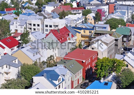 Reykjavik, Iceland, skyline from Hallgrimskirkja on a sunny summer day - stock photo