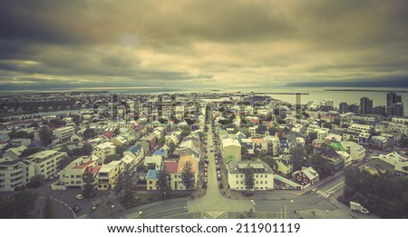 Reykjavik panorama, Iceland - stock photo