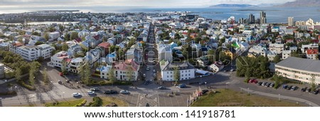 reykjavik panoramic view - stock photo