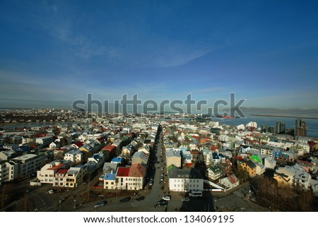 Reykjavik skyline, a view from Hallgrimskirkja - stock photo