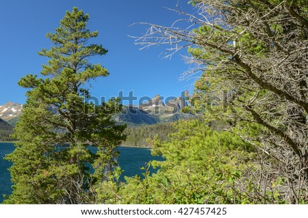 Reynolds Mountain framed by trees (in soft focus) against a cloudless sky from the Sun Point Trail along St. Mary Lake, Glacier-Waterton International Peace Park (Glacier National Park), Montana, USA - stock photo