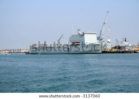 RFA Cardigan Bay (L3009), an amphibious assault vessel of the Royal Fleet Auxiliary berthed in Portsmouth harbour - stock photo