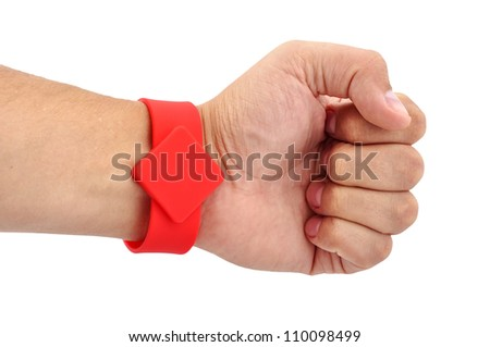 RFID  Bracelet on his hand on a white background - stock photo