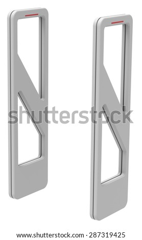 RFID gates isolated on white - stock photo