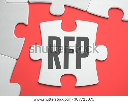 RFP - Request for Proposal - Text on Puzzle on the Place of Missing Pieces. Scarlett Background. Close-up. 3d Illustration. - stock photo