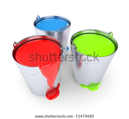 RGB - Buckets with a paint - stock photo