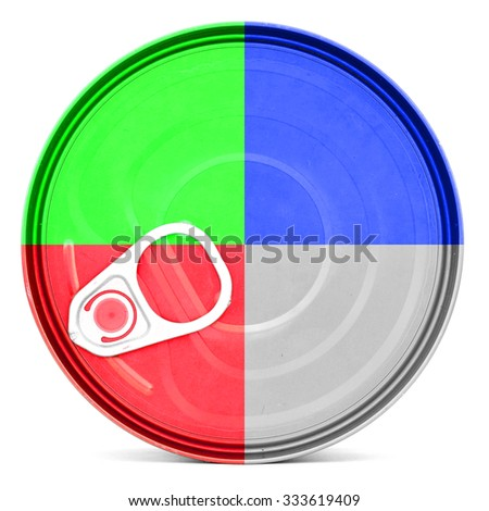 RGB color shiny food can top with pull-ring, isolated - stock photo