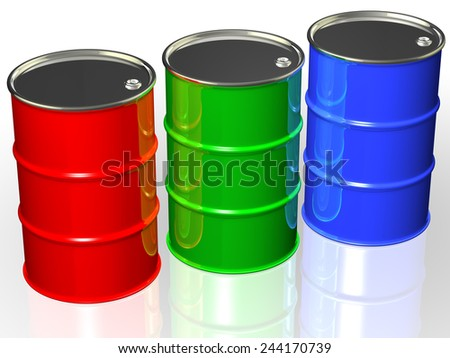 RGB colorful cans with metal caps - stock photo
