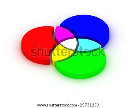 RGB colors crossing. 3D illustration. - stock photo