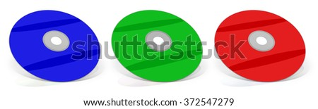 RGB DVD's. Multimedia disks.  Isolated on white. - stock photo