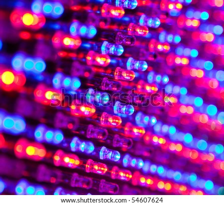 RGB led diode display panel with red and blue diodes turned on. Selective focus. Shallow depth of field. - stock photo