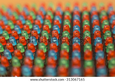 RGB LED dip diodes - close up - stock photo