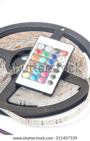 RGB led strip and IR color controller remote. - stock photo