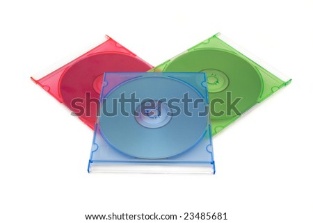 RGB ( Red Green Blue ) colours DVD boxes isolated - stock photo