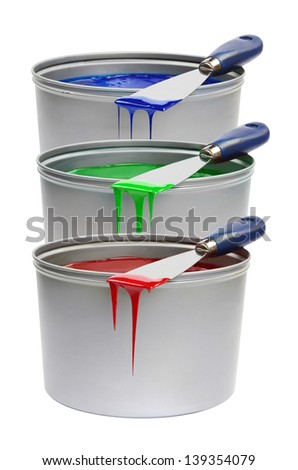RGB trowels, with printing press red, green, blue - stock photo