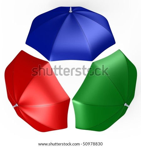 RGB umbrellas from top view - a 3d image - stock photo