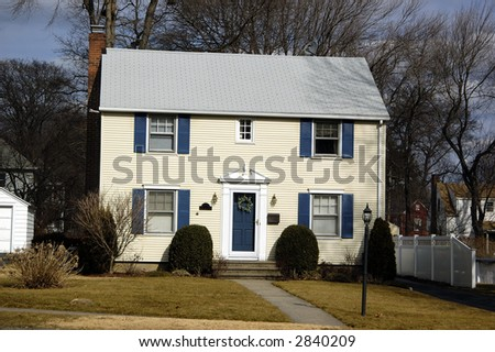 rge two story modern Colonial style house - stock photo