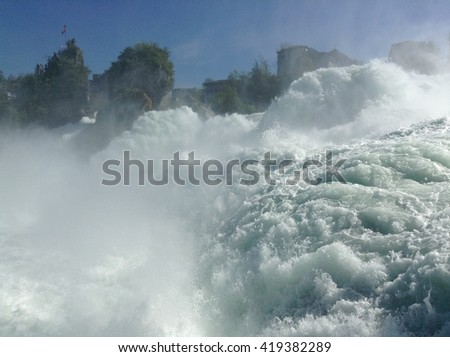 Rheinfall - the biggest waterfall in Europe. Northern Switzerland, between the cantons of Schaffhausen and Zurich.