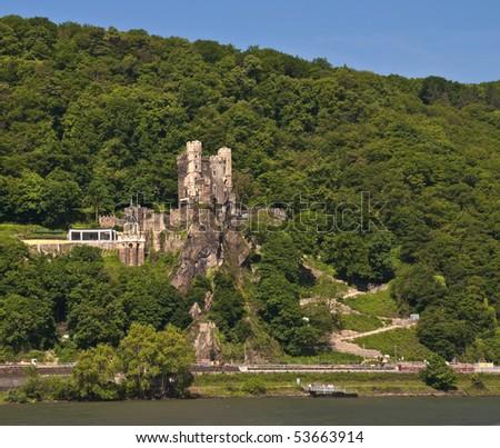 Rheinstein castle in famous rhine valley - stock photo