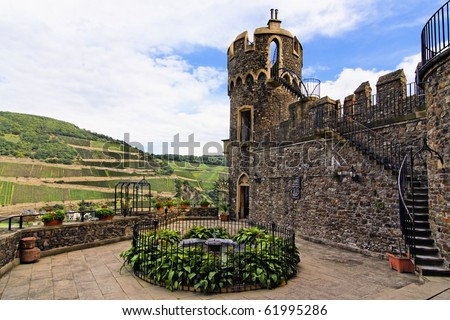 Rheinstein Castle on the Rhine valley in Germany - stock photo