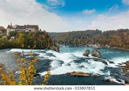 Rhine Falls and castle Laufen, Switzerland - stock photo