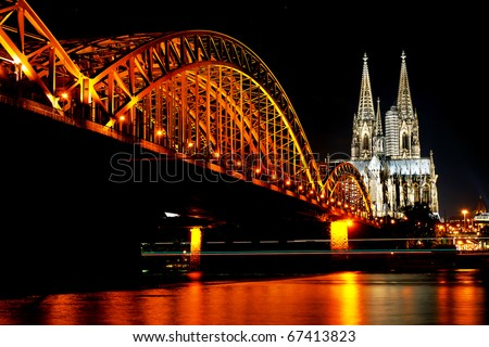 Rhine River and Dom of Cologne, Germany - stock photo