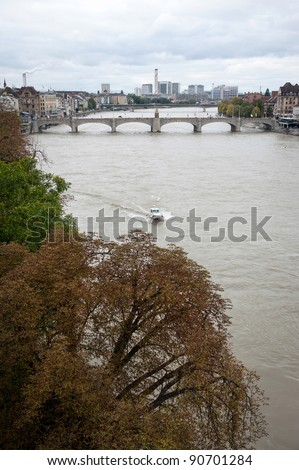 Rhine river in Basel, Switzerland - stock photo