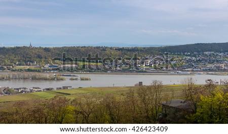 Rhine River in Wiesbaden, Hesse, in the Rheingau wine-growing region of Germany. - stock photo