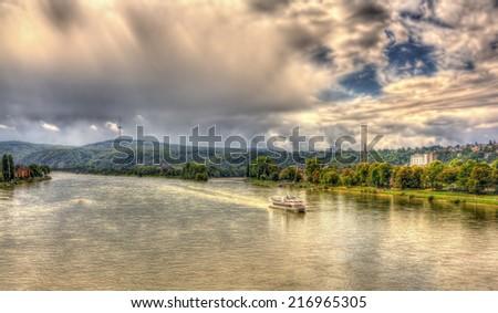 Rhine river near Koblenz, Germany - stock photo