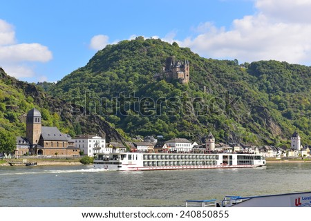 RHINE VALLEY - SEPTEMBER 23: 190-passenger Viking Tor vessel cruising leisurely along Rhine River, taken on September 23, 2014 in Rhine Valley, Germany - stock photo