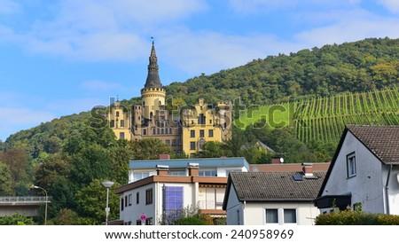 RHINE VALLEY - SEPTEMBER 23: Schloss (Castle) Arenfels, a 13th century medieval castle above Bad Hoenningen, taken on September 23, 2014 in Rhine Valley, Germany - stock photo