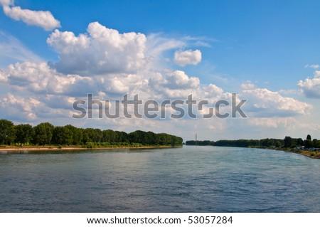 Rhine view from famous Nibelungen bridge - stock photo